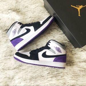 Nike Air Jordan 1 Mid SE White Court Purple